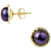A B Davis 9Ct Yellow Gold Border Freshwater Pearl Stud Earrings 5Mm Black