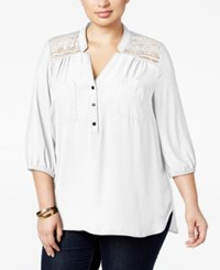 Ny Collection Plus Size Lace Yoke Blouse Ivory Amore