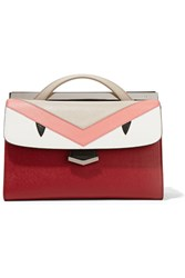 Fendi Demi Jour Paneled Textured Leather Tote Claret