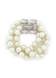 Kenneth Jay Lane Crystal Clasp Multi Strand Glass Pearl Bracelet Metallic White
