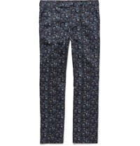 Paul Smith Slim Fit Floral Print Stretch Cotton Trousers Blue