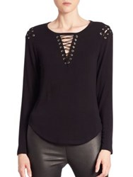 Generation Love Vivi Long Sleeve Lace Up Tee Black
