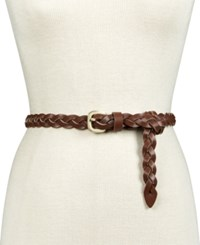 Inc International Concepts Triple Woven Braid Skinny Belt Only At Macy's Cognac