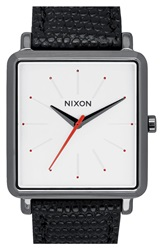 Nixon 'The K Squared' Leather Strap Watch 32Mm X 30Mm Black White