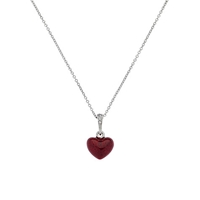 Cachet London Rhodium Plated Swarovski Crystal Mini Enamel Heart Pendant Silver