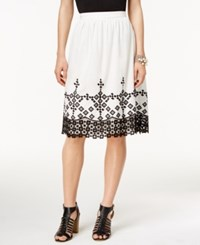 Cece By Cynthia Steffe Embroidered A Line Skirt New Ivory