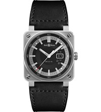 Bell And Ross Br03 96 Grande Date Aviation Stainless Steel And Leather Watch