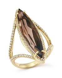 Bloomingdale's Smoky Quartz And Diamond Ring In 14K Yellow Gold Gold Brown