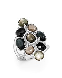 Ippolita Sterling Silver Rock Candy Multi Stone And Doublet Cluster Ring In Black Tie Black White