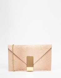 Chi Chi London Chi Chi Envelope Clutch Bag In Blush With Gold Fastening