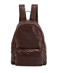 Buffalo Leather Backpack Copper Brown Brunello Cucinelli