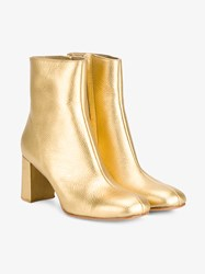 Maryam Nassir Zadeh Agnes Metallic Leather Ankle Boots Metallic Gold Denim