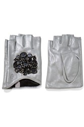 Karl Lagerfeld Embellished Leather Fingerless Gloves Silver