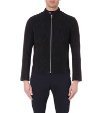 Reiss Cristo Suede Stand Collar Jacket Navy