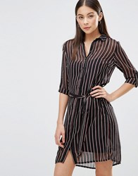 Ax Paris Shirt Dress In Pinstripe Multi