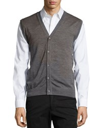 Neiman Marcus Button Front V Neck Sweater Vest Flint