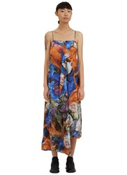 Christopher Kane Long Floral Print Draped Slip Dress Black