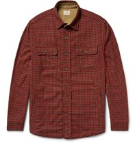 Faherty Suede Elbow Patch Houndstooth Woven Overshirt Brick