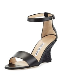 Manolo Blahnik Lauratowe Ankle Wrap Wedge Sandal Black Women's Size 37.0B 7.0B Black Calf 999 Bl