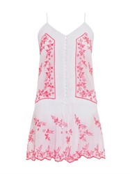 Juliet Dunn Embroidered Cotton Mini Dress