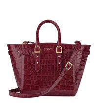 Aspinal Of London Croc Print Midi Marylebone Tote Unisex Cherry