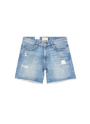 Current Elliott 'The Boyfriend' Distressed Rolled Denim Shorts Blue