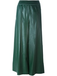 Cedric Charlier Flared Cropped Trousers Green