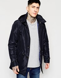 Scotch And Soda Trench Coat With Parka Tail And Detachable Hood Navy