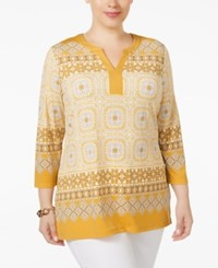 Charter Club Plus Size Scarf Print Tunic Only At Macy's Honey Glaze Combo