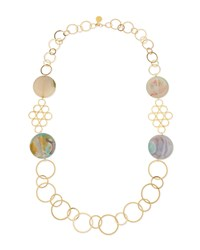 Round Chalcedony Multi Circle Necklace Sea Foam Devon Leigh Blue