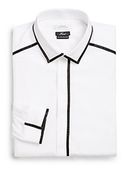 Versace Contrast Trim Cotton Dress Shirt White