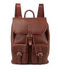 Robert Graham Johnny Pebbled Faux Leather Backpack Cognac