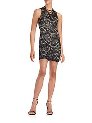 Alexia Admor Lace Up Lace Mini Dress Black Nude