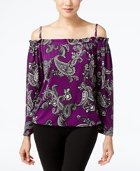 Inc International Concepts Off The Shoulder Top Only At Macy's Curval Paisley Purple