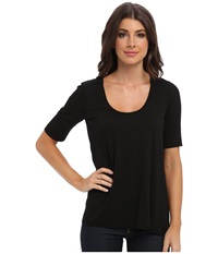 Three Dots 1 2 Sleeve Relaxed High Low Tee Black Women's Short Sleeve Pullover