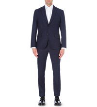 Hardy Amies Heddon Fit Broken Check Wool Blend Suit Navy