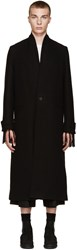 Isabel Benenato Black Wool Long Coat