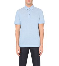 Canali Melange Cotton Polo Shirt Blue