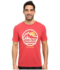 Life Is Good Log Out Cool Tee Simply Red Men's T Shirt