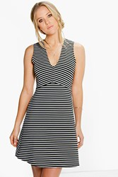 Boohoo Plunge Stripe Skater Dress Black