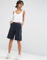 Asos Chino Boy Shorts With Belt Navy