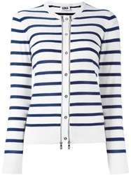 Sonia Rykiel By Zipper Detail Striped Cardigan White