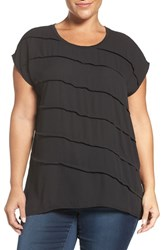 Sejour Plus Size Women's Mixed Media High Low Tee