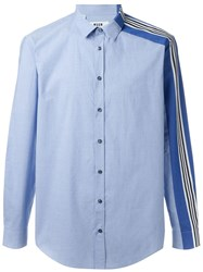 Msgm One Striped Sleeve Shirt Blue