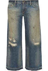 Simon Miller Baltic Distressed Mid Rise Wide Leg Jeans Blue