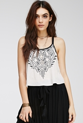 Forever 21 Racerback Embroidered Cami Taupe Black