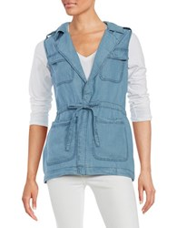 Sanctuary Chambray Utility Vest Sun Bleach