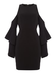 Bardot Long Sleeved Cold Shoulder Open Back Dress Black