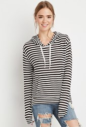 Forever 21 Striped Loose Knit Hoodie Cream Black