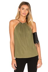 Halston Beaded Shirred Tank Green